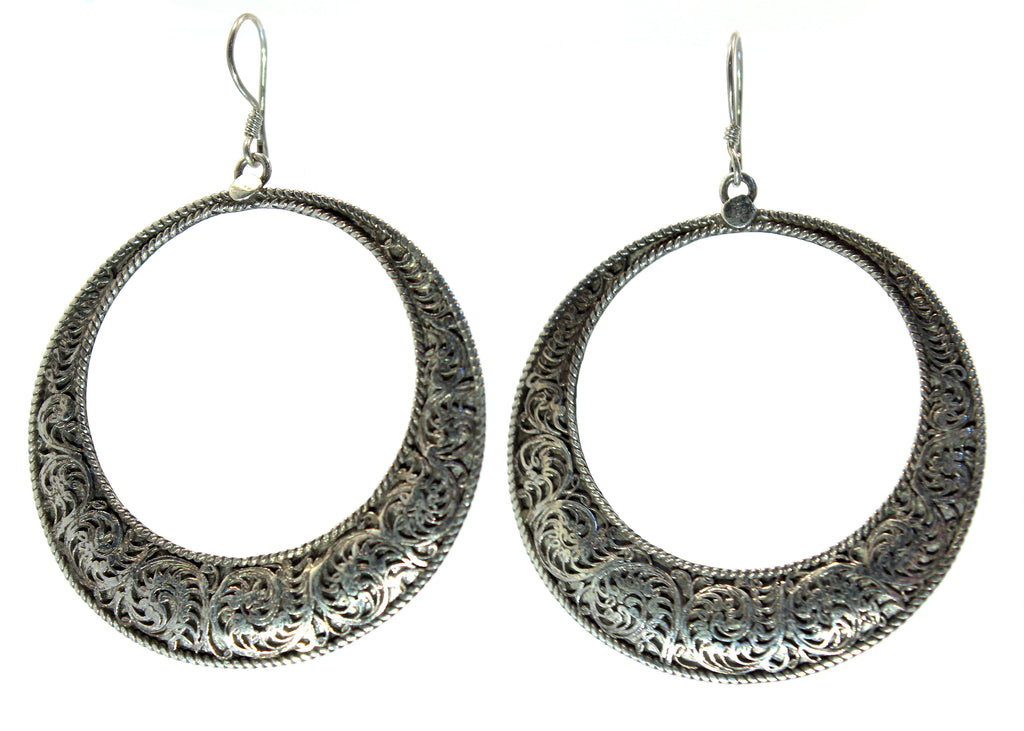 Handmade Sterling Silver Nepalese  Large Filligree Hoop Earrings