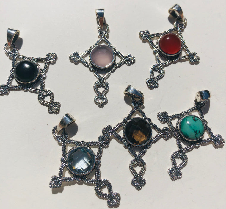Sterling Silver Cross Pendants - Available in 6 Stones