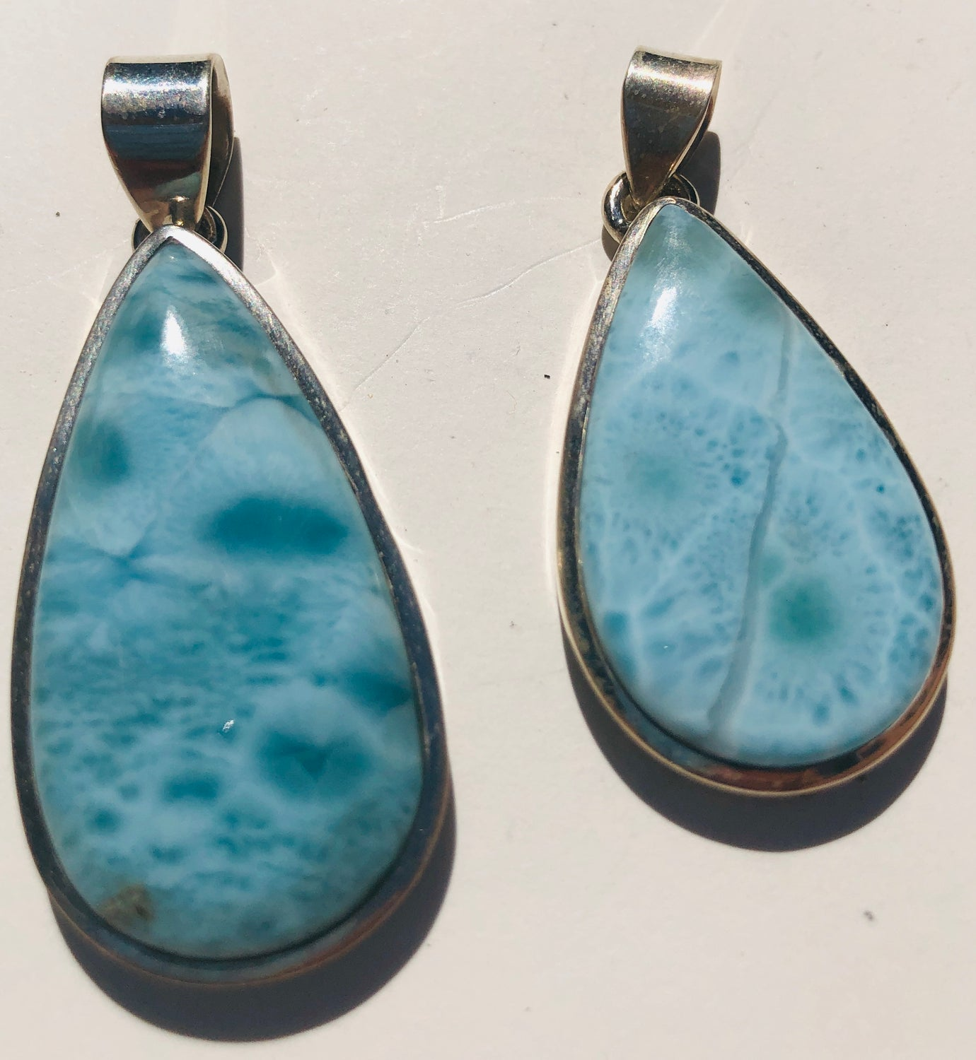 Sterling Silver Larimar Tear drop Pendants