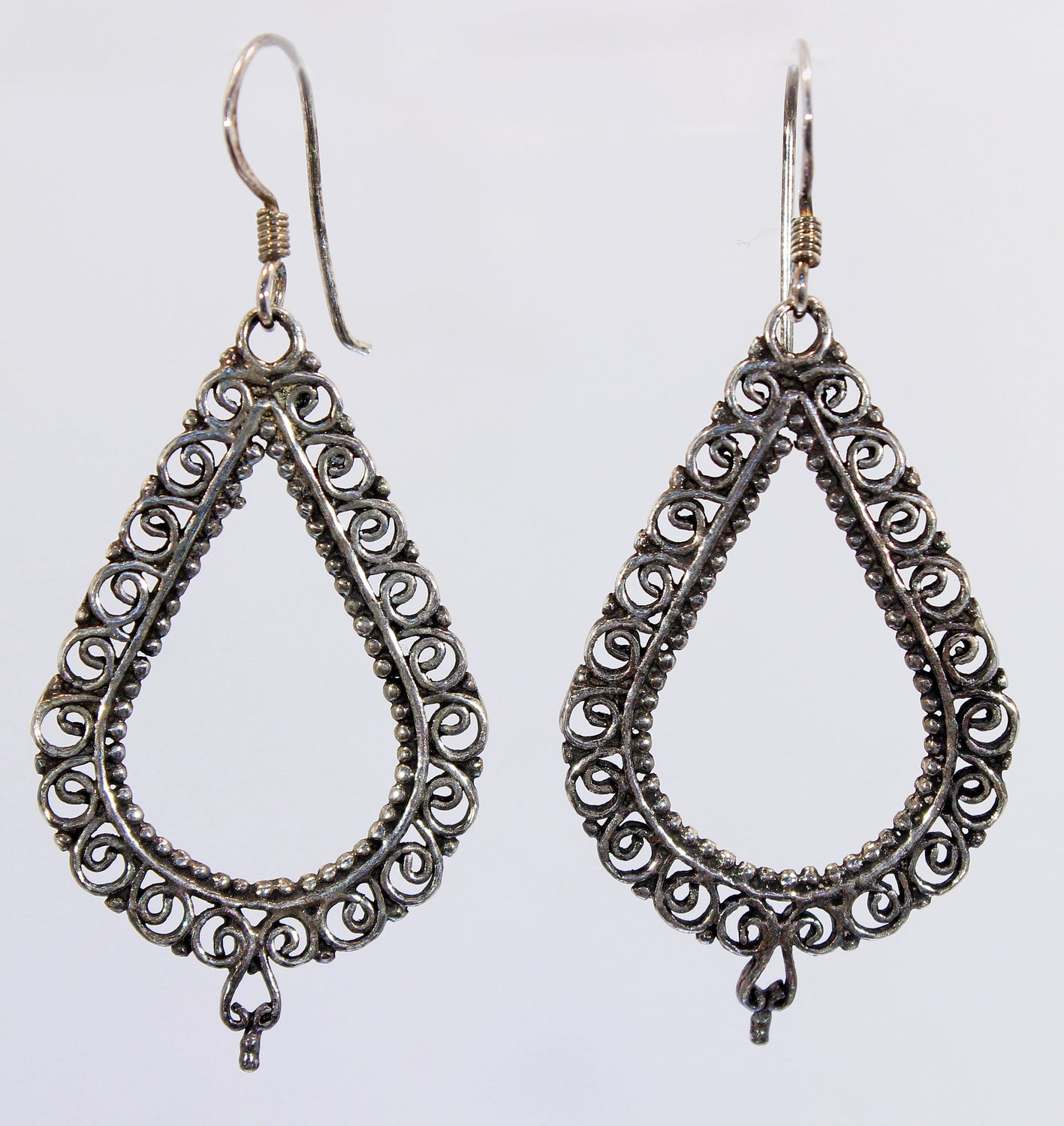 Sterling Silver Balinese Filigree Earrings