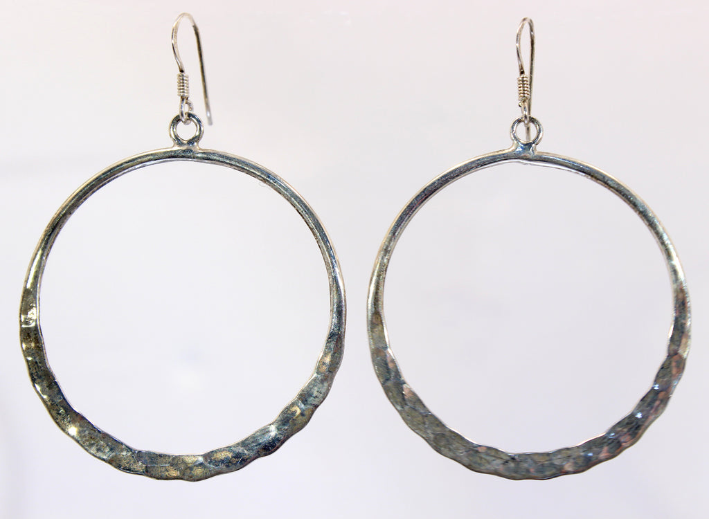 Handmade Sterling Silver Thai Hammered Hoops Earrings