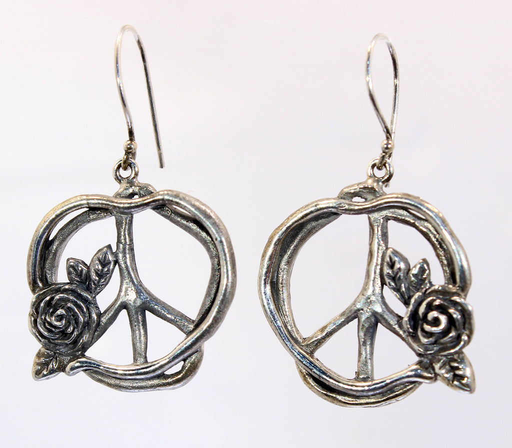 Sterling Silver Peace Sign with Rose Earrings