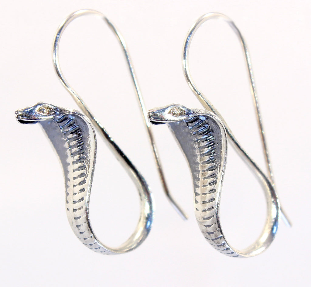 Handmade Sterling Silver Cobra Snake Earrings