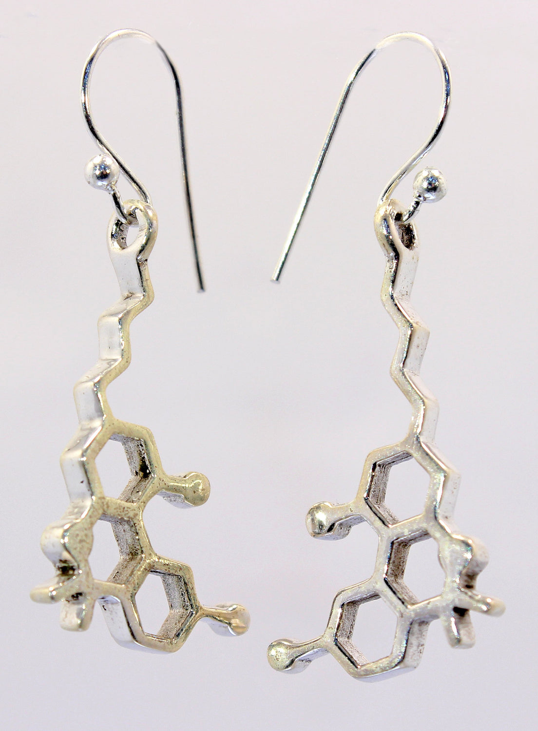 Handmade Sterling Silver THC Molecule Earrings