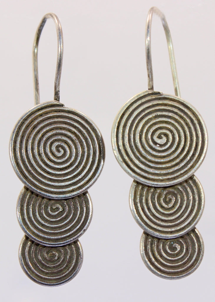 Handmade Sterling Silver Thai Hilltribe Spiral Earrings