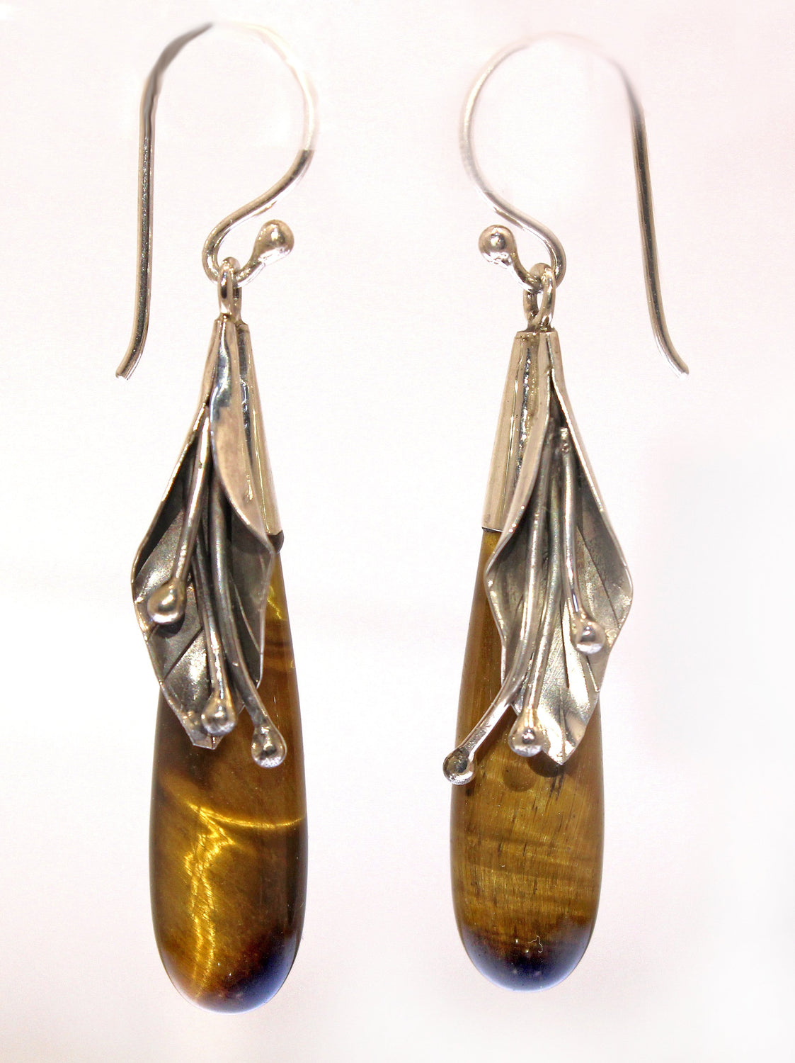 Handmade Sterling Silver Cow Lily Tigers Eye Earrings