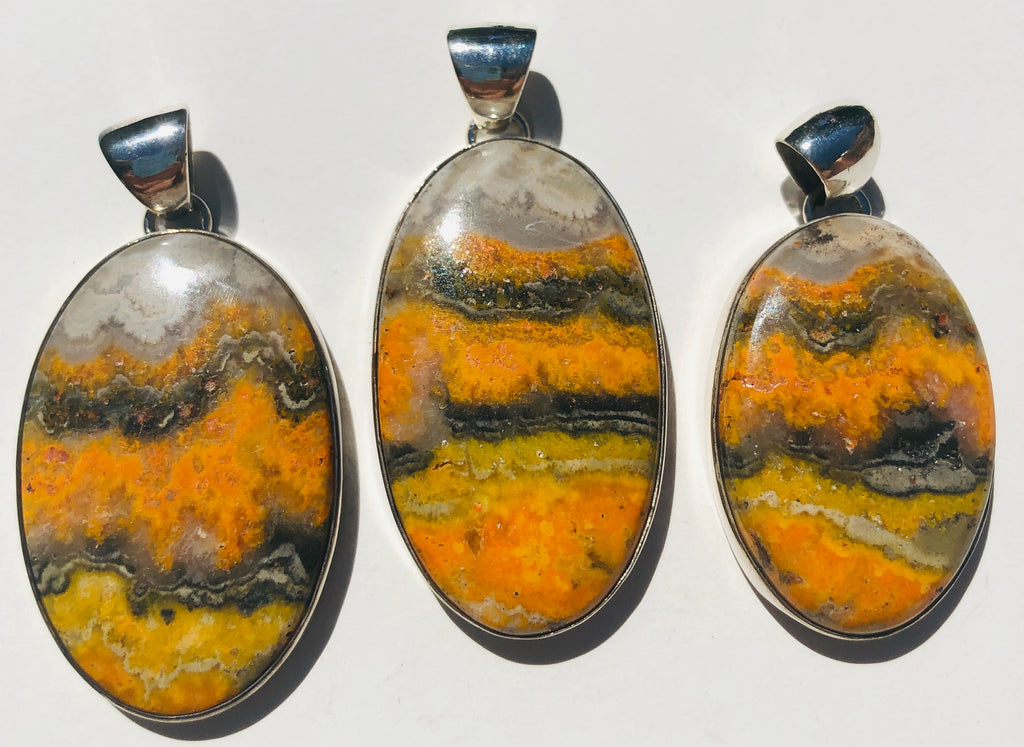 Sterling Silver Bumble Bee Jasper Pendants - Ovals