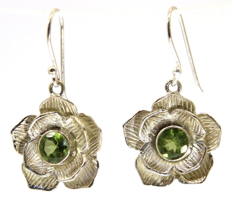 Handmade Sterling Silver Lotus Flower Earrings - Available in 2 stones