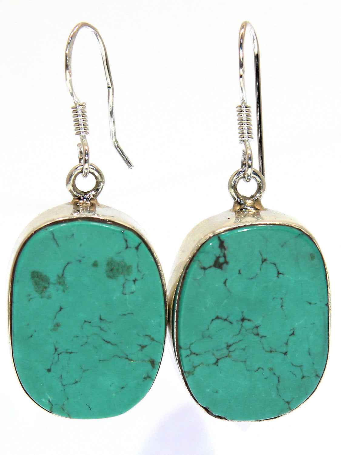 Sterling Silver Large Stone Turquoise Earrings