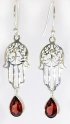 Handmade Sterling Silver Teardrop Hamsa Earrings -Available in 3 Stones