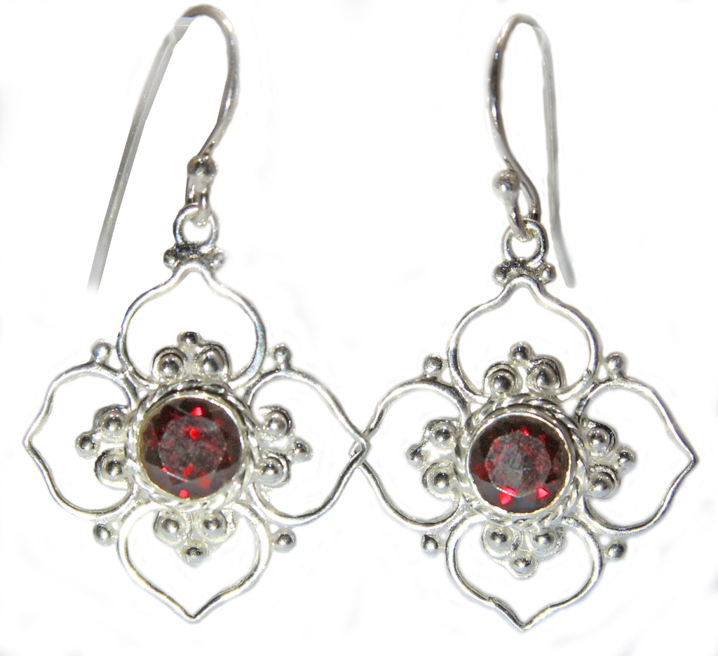 Sterling Silver Open Lotus Earrings - Available in 12 stones