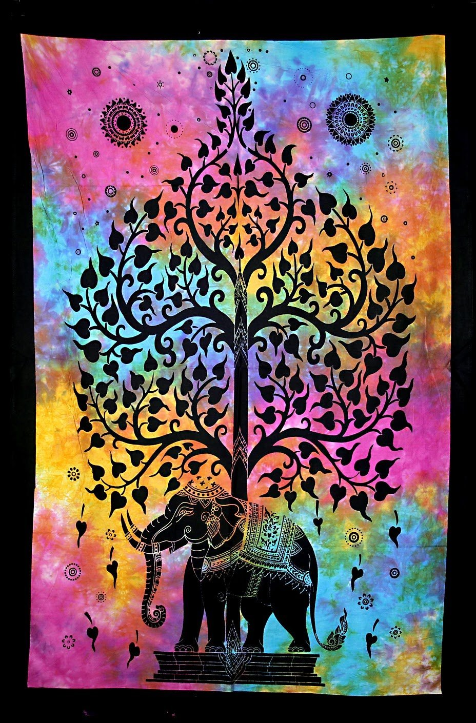 Hand printed Mini Elephant Tree of Life Tapestry Wall Hangings - Available in 6 Colors