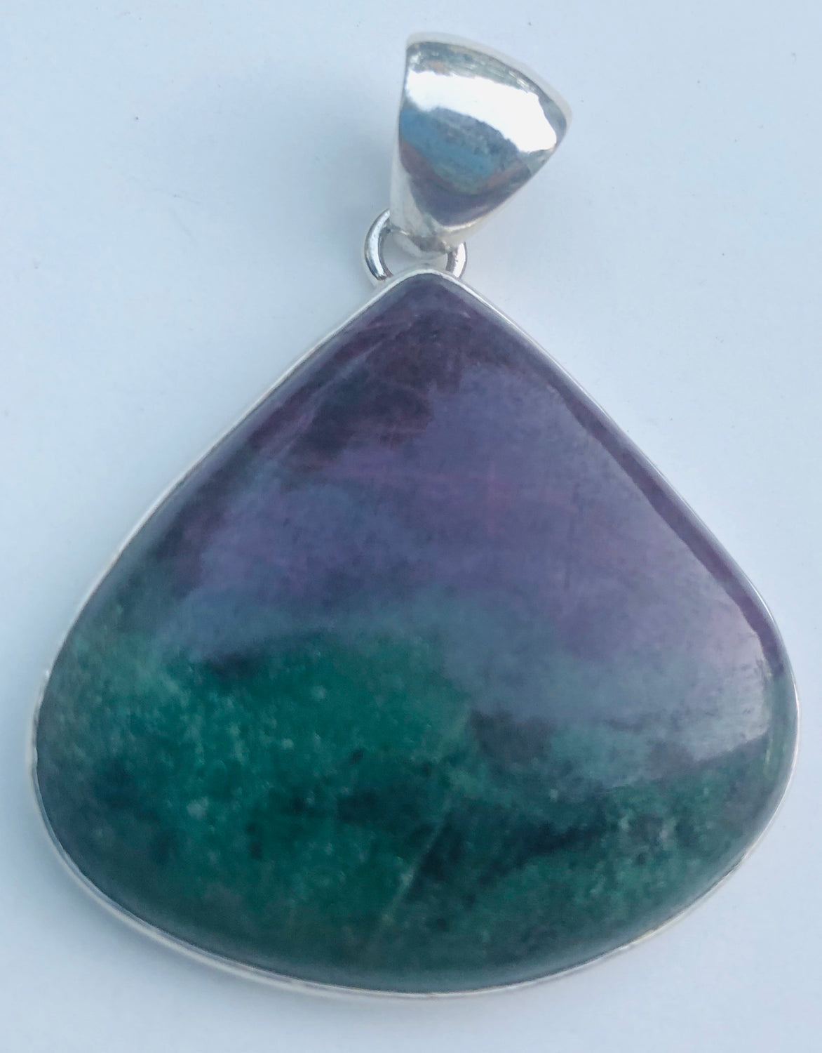 Sterling Silver Triangle Ruby Fuchsite Pendant