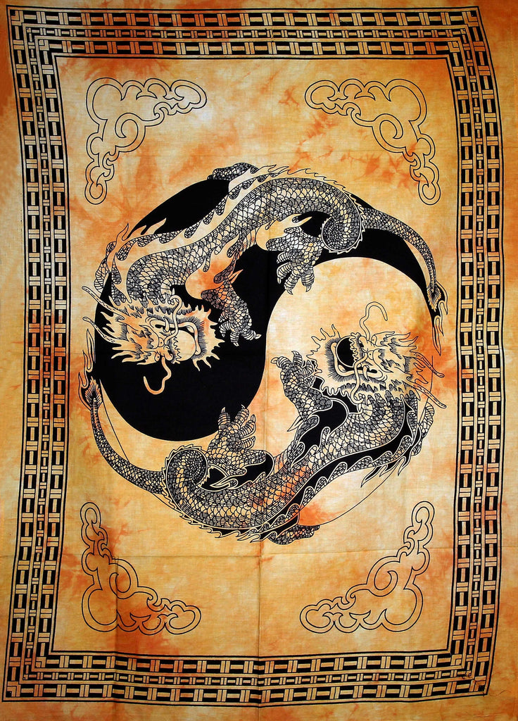 Hand printed Mini Dragon Yin & Yang Tapestry Wall Hangings - Available in 4 Colors
