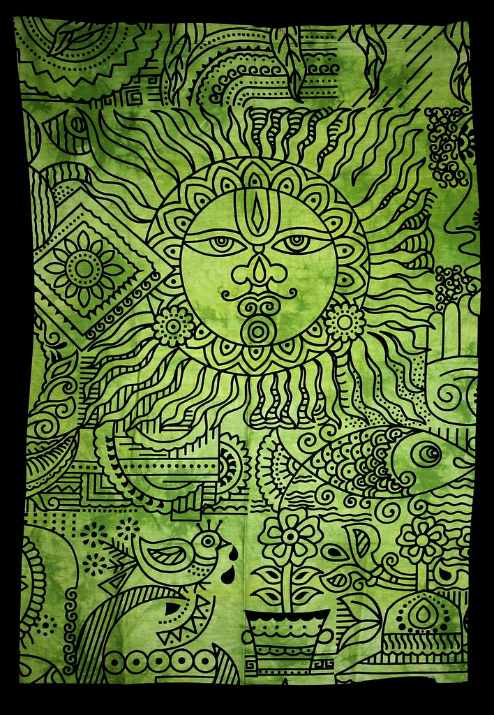 Hand printed Mini Sun Tapestries Wall Hangings - Available in 4 Colors