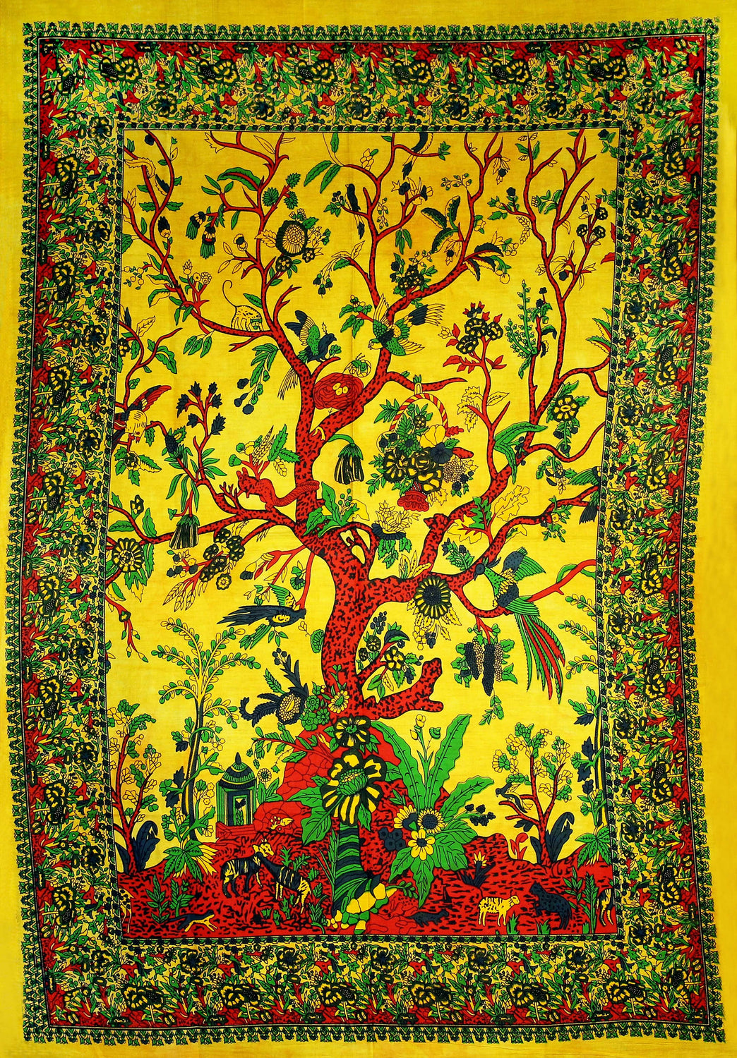 Hand printed Mini Tree of Life Tapestries Wall Hanging