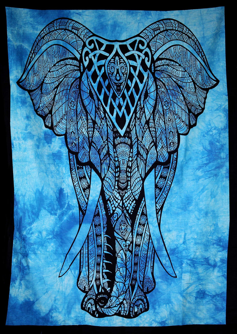 Hand printed Mini Elephant Tapestries Wall Hangings - Available in 5 Colors