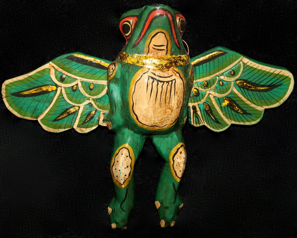 Hand Carved Flying Frog Spirit Chaser