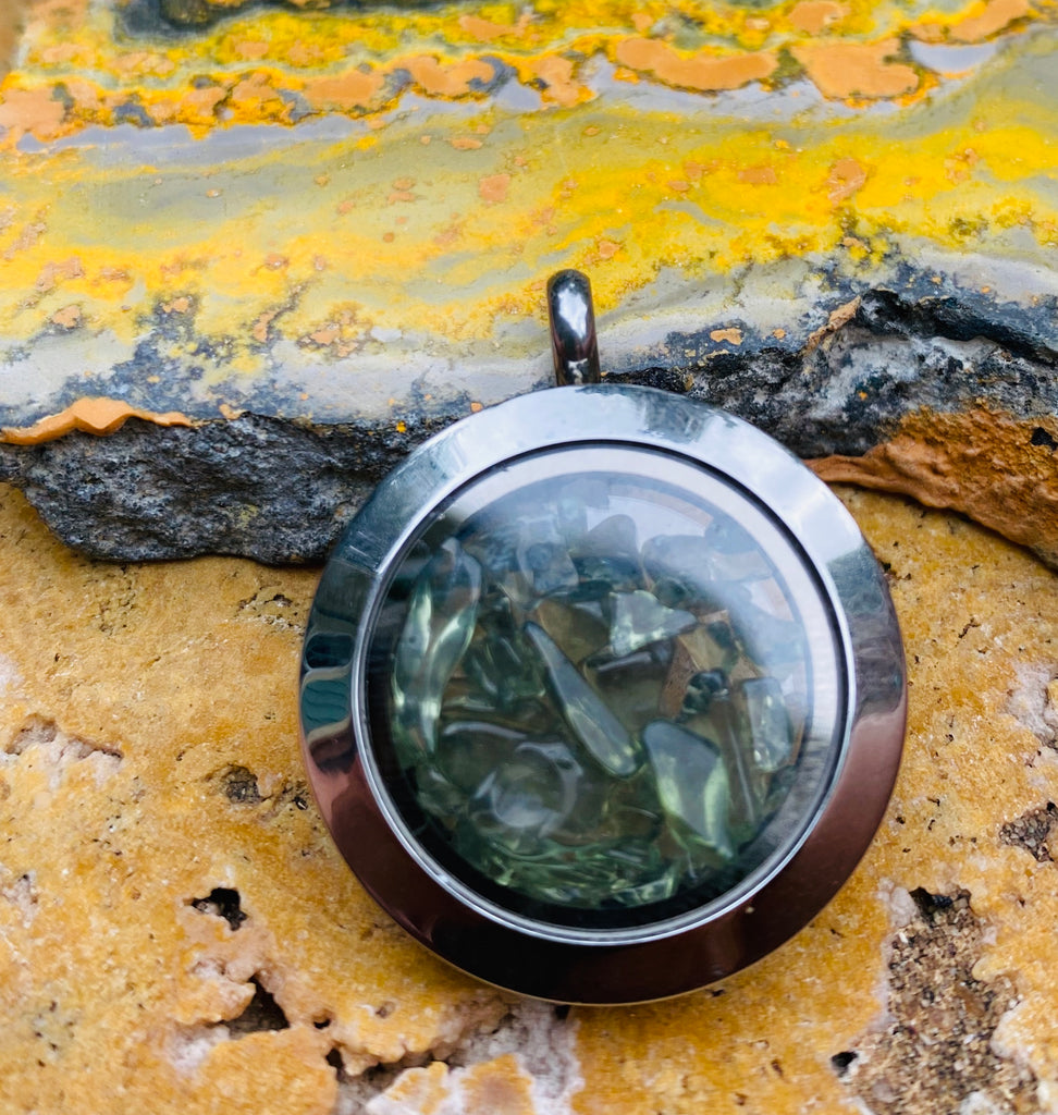 Moldavite Floating Locket Pendant