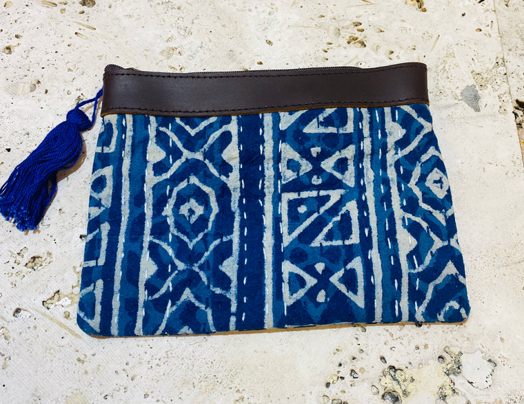 Antique Indigo Katntha Fabric Antique Rajasthani wallets or Coin Purses Makeup bag w/ Leather top - 2 Sizes