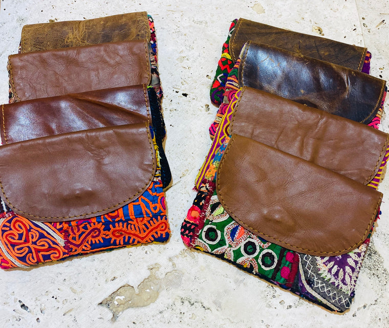 Recycled Hand Embroidered Antique Rajasthani wallets or Coin Purses w/ Leather fold over