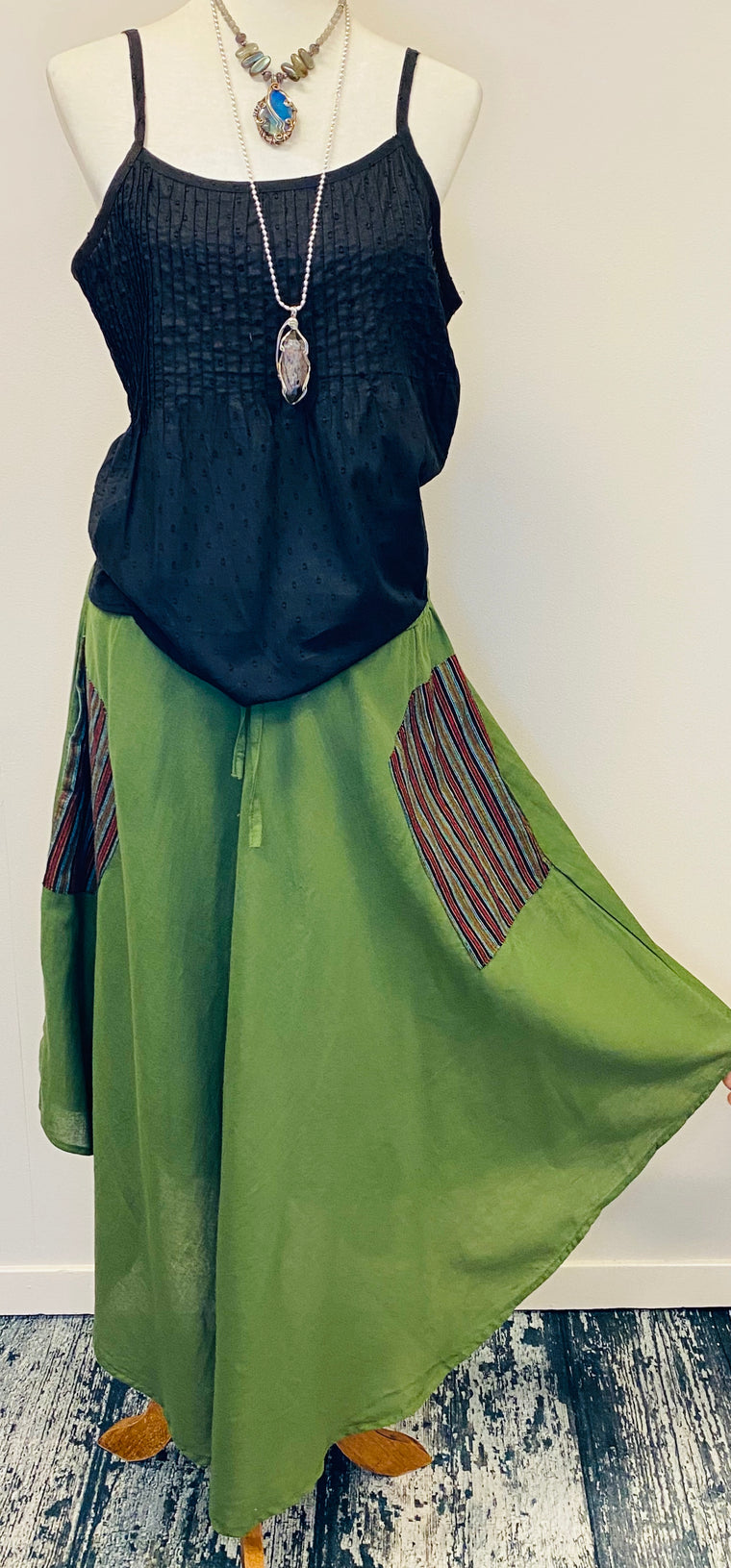 100% Hemp Drawstring Skirt with Nepali Fabric side Pockets from Nepal