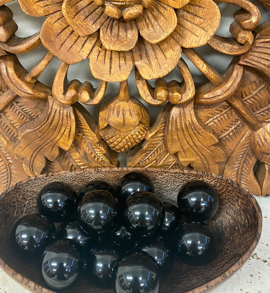 Black Obsidian Spheres from Mexico - 2 sizes available