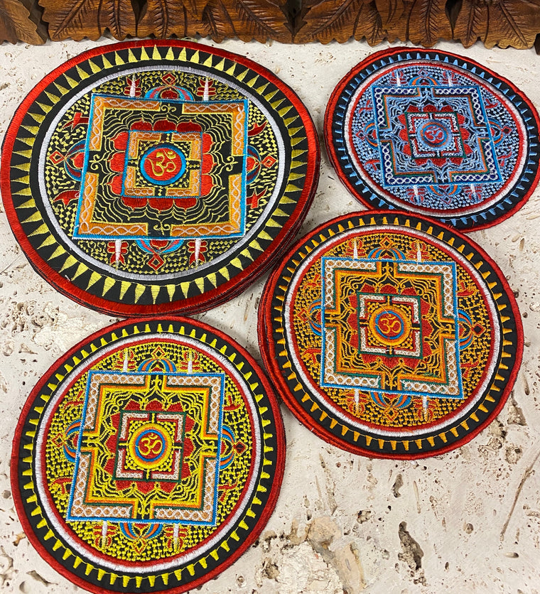 Handmade Embroidered Om Mandala Patches from Nepal 3
