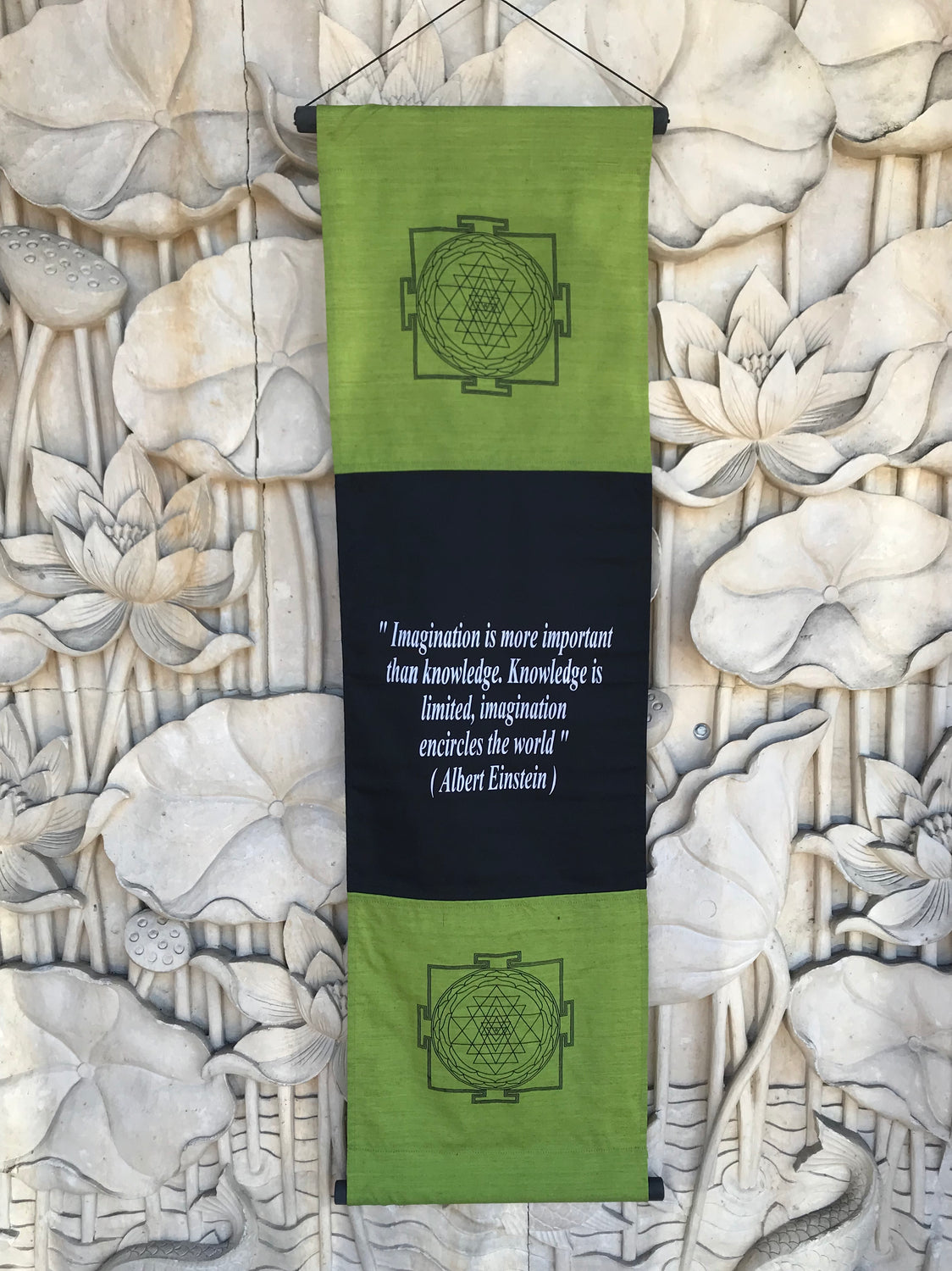 Hand Woven Ikat Imagination Einstein Quote Blessing Manifestation Banner