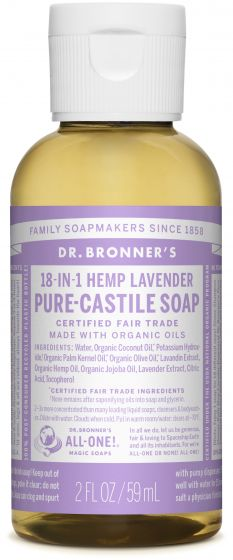 Dr Bronners Pure-Castile Liquid Soap Lavender Face, body, hair—food, dishes, mopping, pets—the best for human, home and Earth!