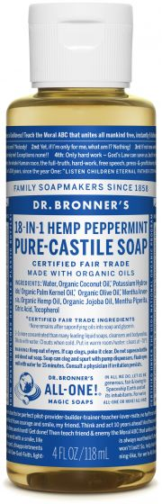Dr Bronners Pure-Castile Liquid Soap Peppermint Face, body, hair—food, dishes, mopping, pets—the best for human, home and Earth!
