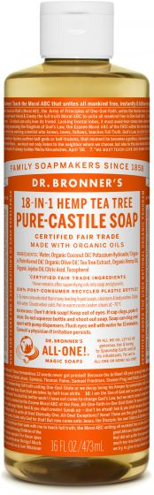 Dr Bronners Pure-Castile Liquid Soap Tea Tree Oil -- Face, body, hair—food, dishes, mopping, pets—the best for human, home and Earth!