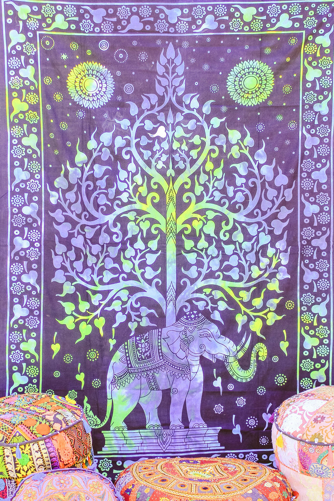 Hand printed Elephant Tree Tapestries Wall Hanging or Bedsheet Blues