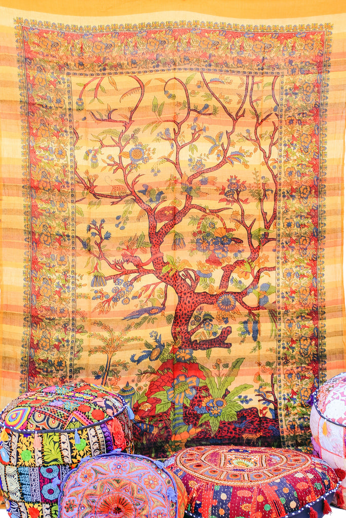 Hand printed Tree of Life Tapestries Wall Hanging or Bedsheet Yellows & Oranges