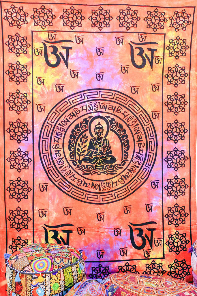 Hand printed Buddha Om Tapestries Wall Hanging or Bedsheet Orange & Pinks