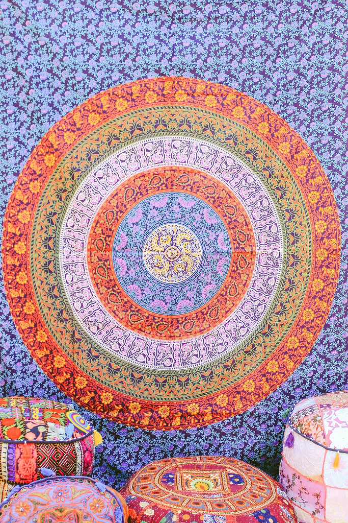 Hand printed Mandala Tapestries Wall Hanging or Bedsheet Navy