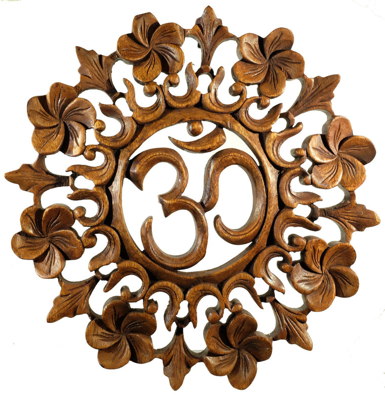 Hand Carved Om Mandala wall hanging