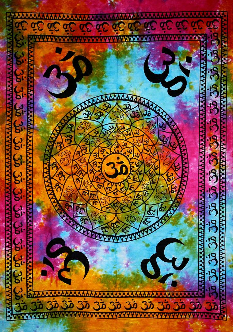 Hand printed Mini Om Mandala Tapestry Wall Hanging _+ Available in 3 Colors