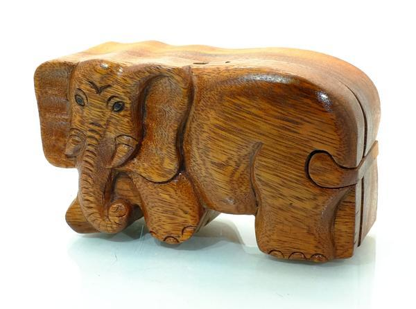 Handcarved Wooden Elephant Puzzle Boxes