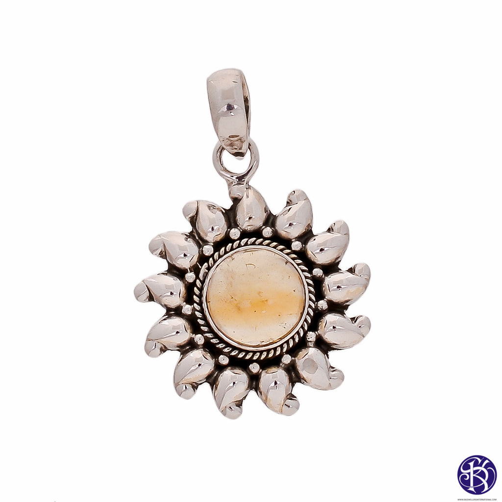 Sterling Silver Sun Pendant - Available in 10 Stones