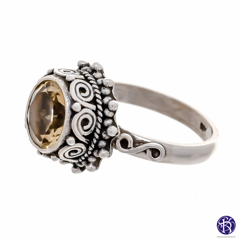 Sterling Silver 9mm Round Stone Ring- Available in 6 Stones