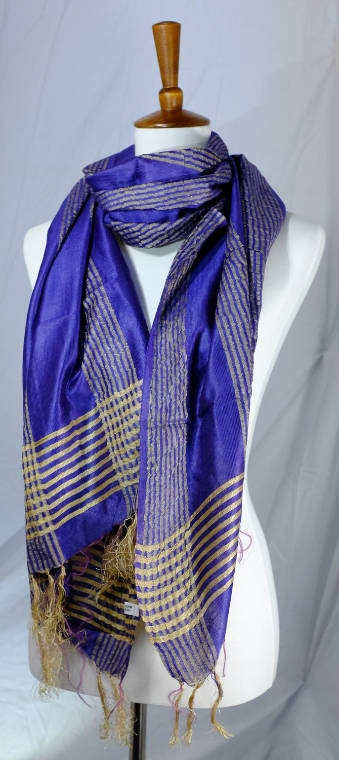 Silky Handwoven Scarves with Golden Accents 6 Colors