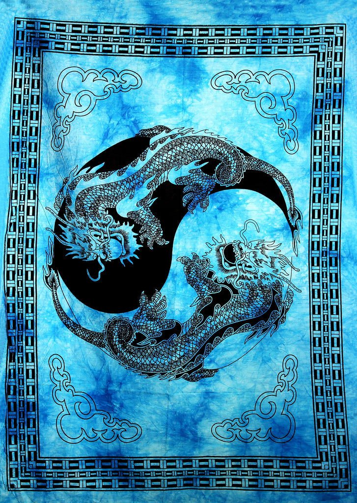 Hand printed Mini Dragon Yin & Yang Tapestry Wall Hanging