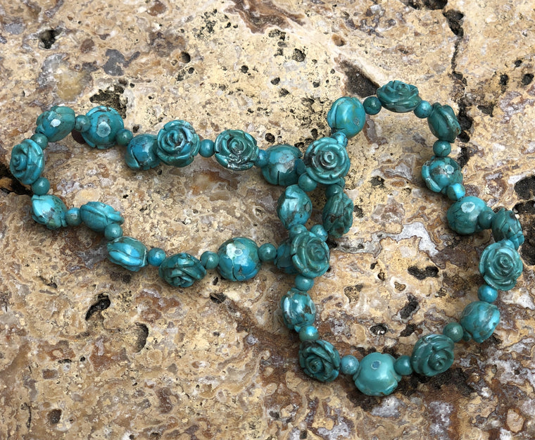 Natural Turquoise Hand carved Rose  Bracelet.