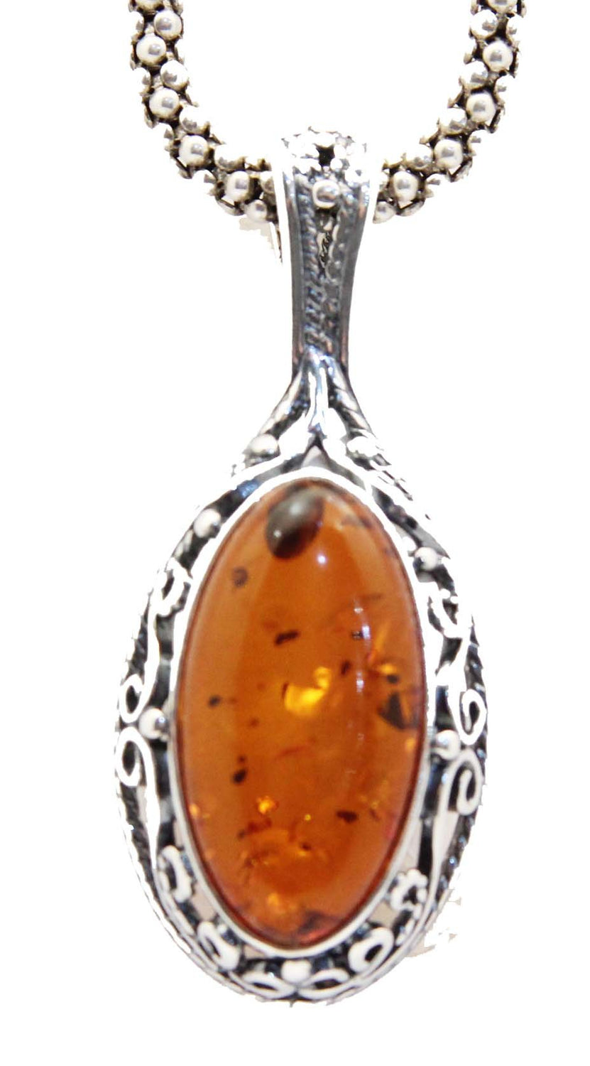 Sterling SIlver Baltic Amber Pendant