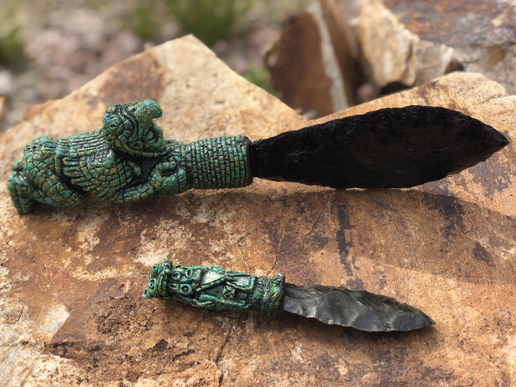 Aztec Tecpatl Obsidian Knives-  Warrior