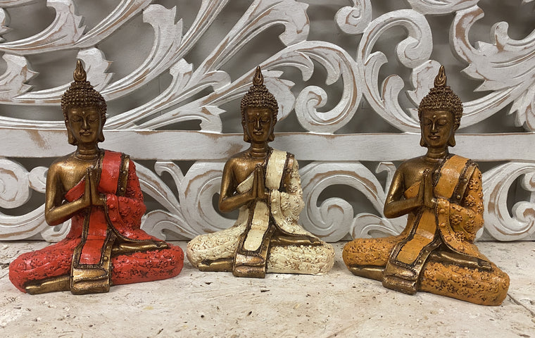 Hand Painted Resin Thai Buddha 20cm - Available in 3 Colors