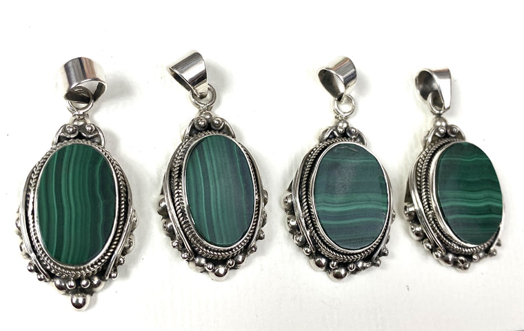Sterling Silver Malachite Pendants - Available in 2 sizes Insect design