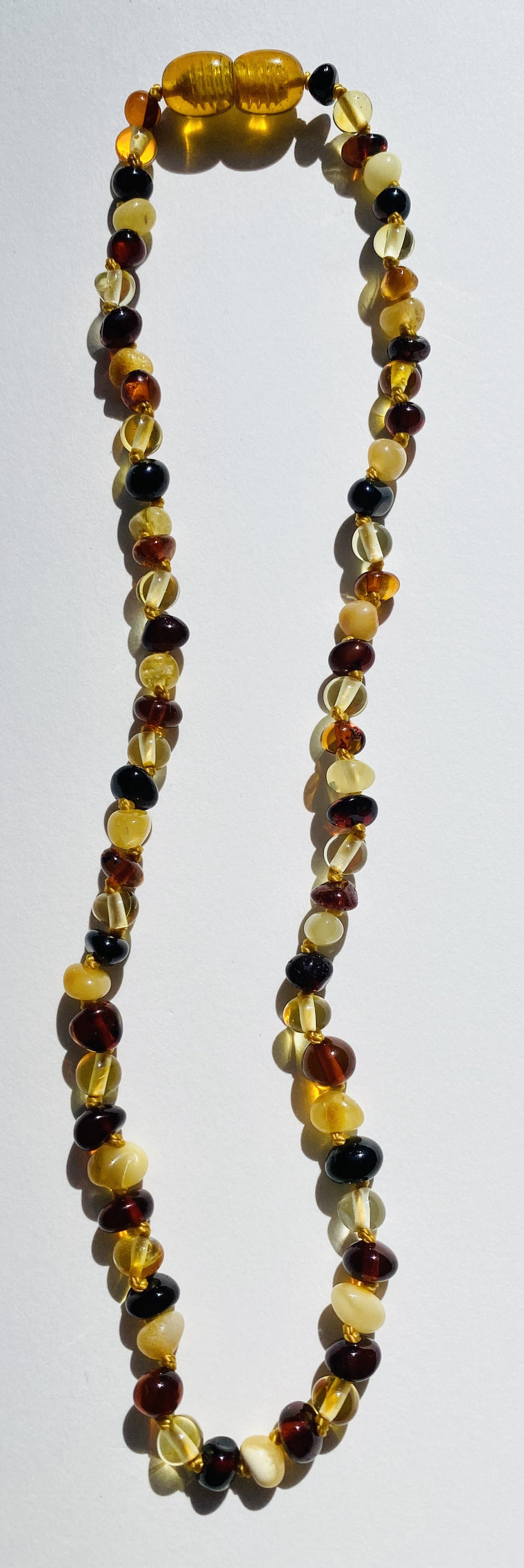 Hand Knotted Amber Baby Teething Necklaces Multi Chips