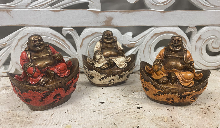Hand Painted Resin Happy Buddha (HoTei) on Dragon- Available in 3 Colors